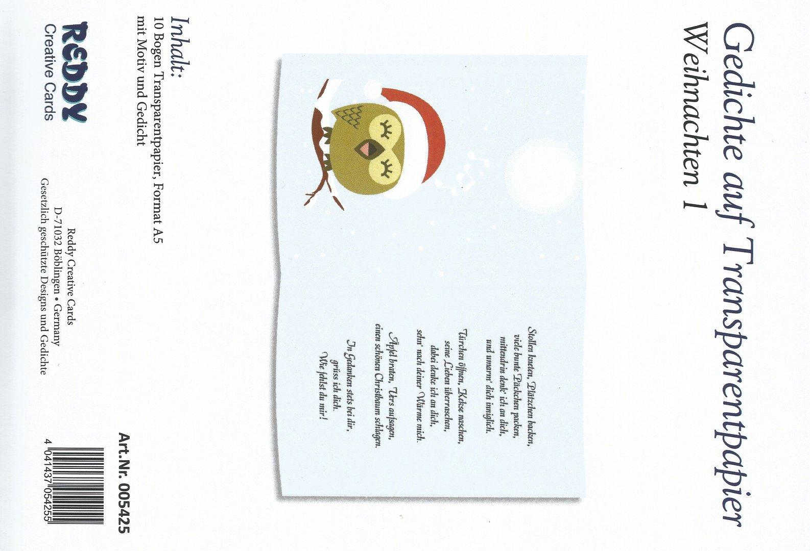 Weihnachten Gedichte.Gedichte Auf Transparentpapier Weihnachten 1