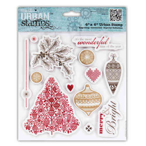 "6X6"" URBAN STAMP - HOME FOR CHRISTMAS (BAUBLES) (13PCS) - (PMA 907156)"