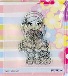 "Clear Stamp - ""Girl with Flowers"" - (Bloss01)"