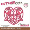 "CottageCutz Die 4""X4"" - Filigree Love Birds (4x4461)"