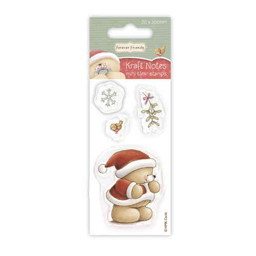 Forever Friends 50 X 100mm Mini Clear Stamp Stocking Christmas Kraft Notes