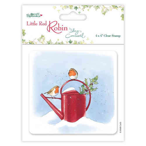 "4 x 4"" Clear Stamps - Little Red Robin - Watering Can - (PMA 907915)"