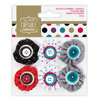 Pleated Mini Fabric Flowers (6pcs) - Capsule - Spots & Stripes Jewels - (PMA 358013)