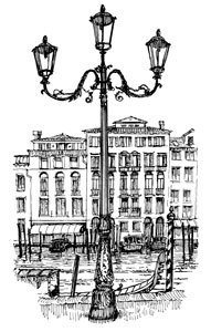 Venetian Lampost  - Craft Rubber Stamps by Art-Kure