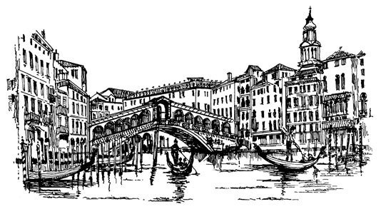 The Rialto Bridge  - Craft Rubber Stamps by Art-Kure
