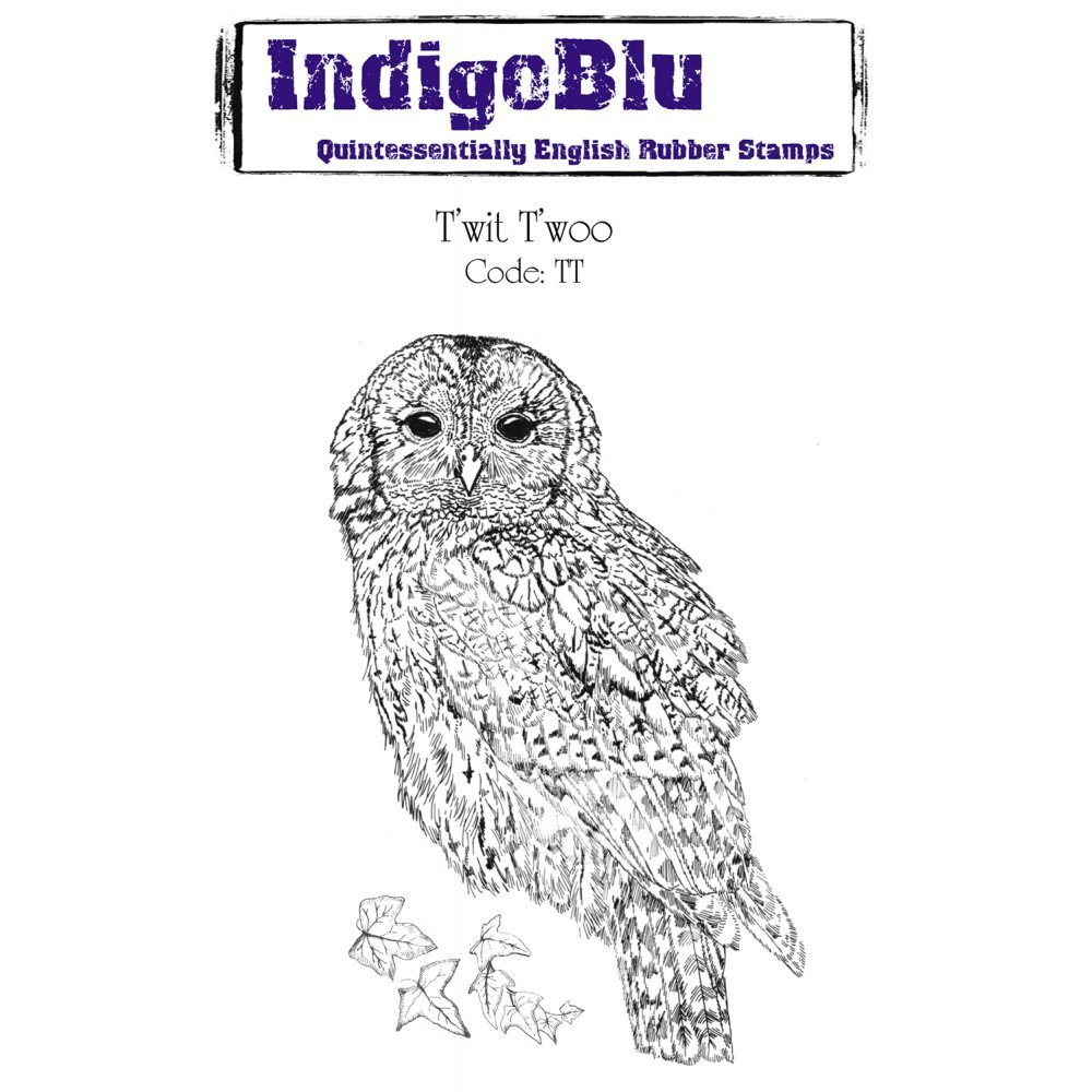 Indigoblu T'wit T'woo - A6 Red Rubber Stamp - (Twit Twoo - TT)