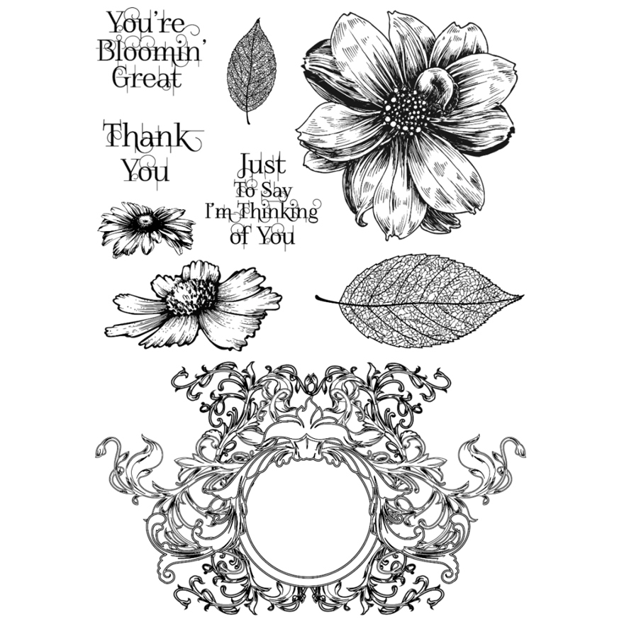 Indigoblu Blooming Great - A5 Red Rubber Stamp - (Blooming Great - BG I)