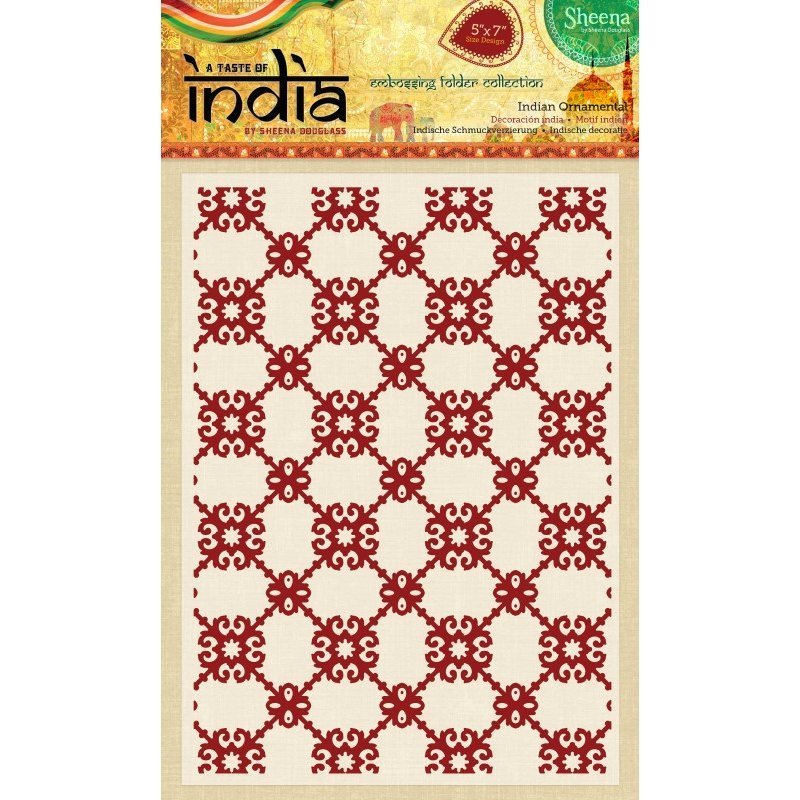 Sheena Douglass - A Taste of India - 5x7 Embossing Folder - Indian Ornate Screen
