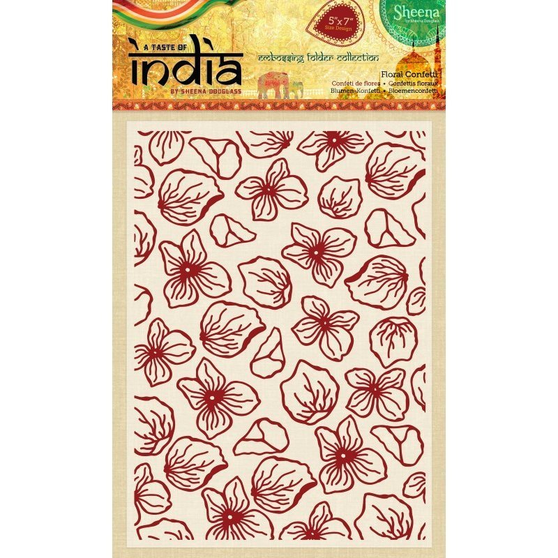 Sheena Douglass - A Taste of India - 5x7 Embossing Folder - Floral Confetti