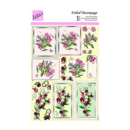 TEA CUP FLOWERS ANITAS FOILED DECOUPAGE FOR CARDS OR CRAFTS
