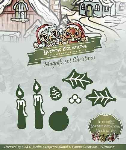 Yvonne Creations - Magnificent Christmas Dies - Candle Set