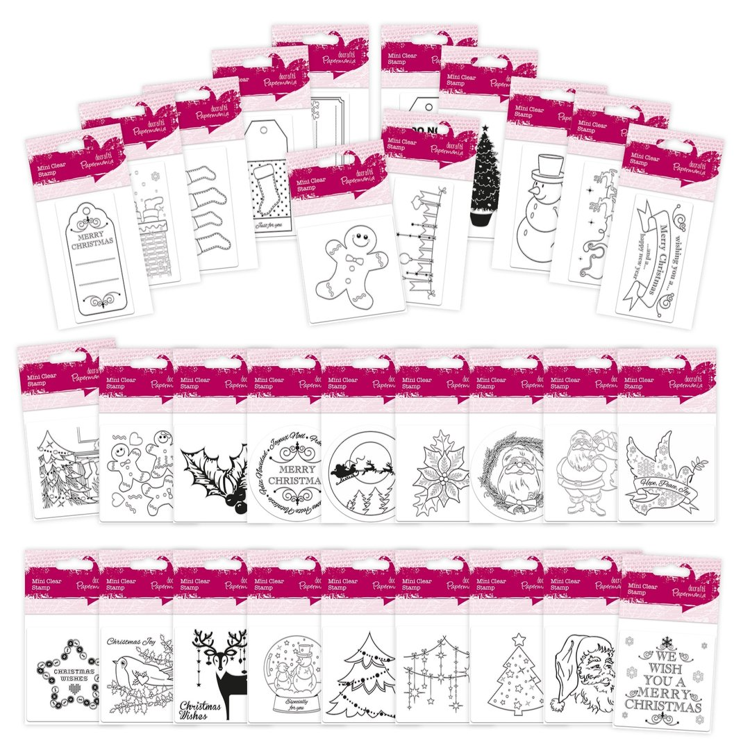Weihnachts-Stempel-Sortiment 2016 - Mini Clear Stamps (30 Stck) x